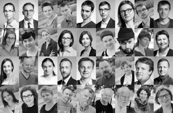 Mozaika złożona ze zdjęć osób na co dzień tworzących Sieć Watchdog
