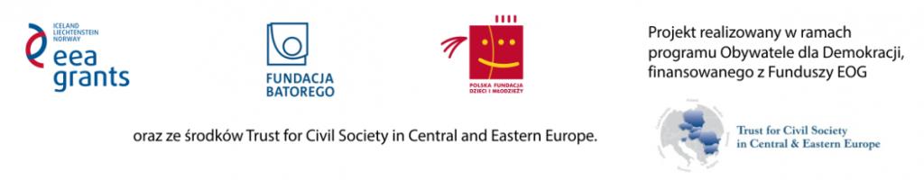 Loga Fundacji Batorego, Polskiej Fundacji Dzieci i Młodzieży oraz funduszy EOG oraz CEE Trust
