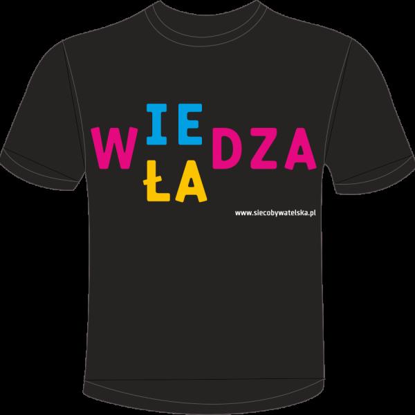 Czarna koszulka męska z hasłem Wiedza-władza