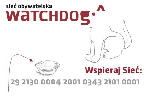 Sieć Obywatelska - Watchdog Polska. Wspieraj. Numer konta: 29 2130 0004 2001 0343 2101 0001