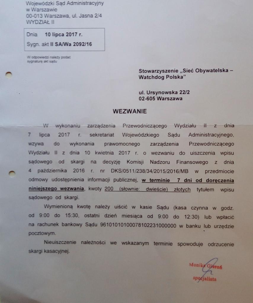 opłacone z darowizn wezwanie do uiszczenia wpisu watchdog polska