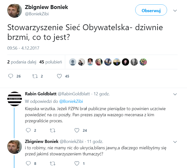 Zrzut ekranu z Twittera Zbigniewa Bońka