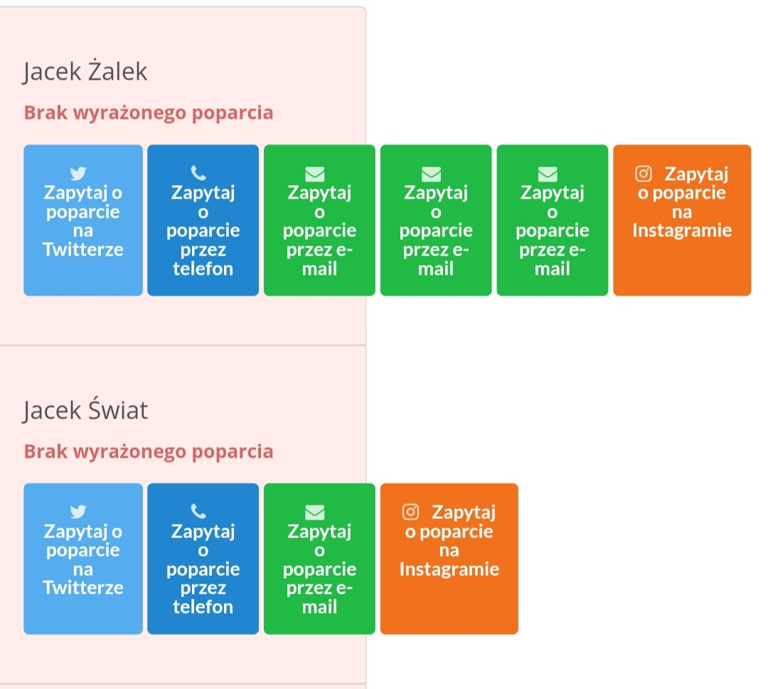 Zrzut z ekranu ze strony umowy.siecobywatelska.pl przestawiający nazwiska posłów i sposób kontaktu z nimi